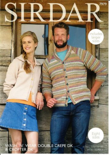 Cardigans Knitting Pattern, Sirdar 7979, 24/26 -52/54 in